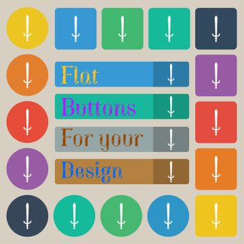 the sword icon sign. Set of twenty colored flat, round, square and rectangular buttons.
