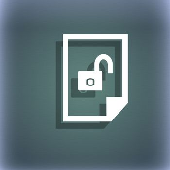 file unlocked icon sign. On the blue-green abstract background with shadow and space for your text.