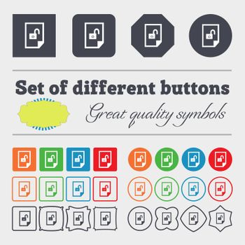 file unlocked icon sign. Big set of colorful, diverse, high-quality buttons.