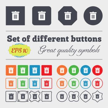 Recycle bin, Reuse or reduce icon sign Big set of colorful, diverse, high-quality buttons.