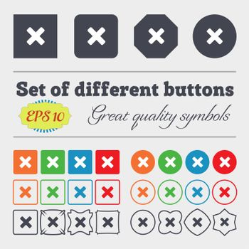 cancel, multiplication icon sign Big set of colorful, diverse, high-quality buttons.