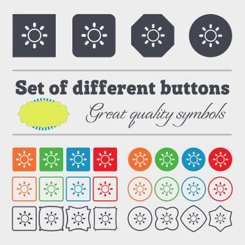 Brightness icon sign. Big set of colorful, diverse, high-quality buttons.