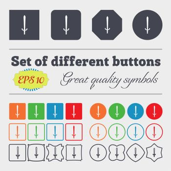 the sword icon sign. Big set of colorful, diverse, high-quality buttons.