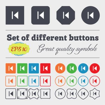 fast backward icon sign Big set of colorful, diverse, high-quality buttons.