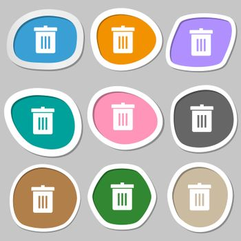 Recycle bin, Reuse or reduce icon symbols. Multicolored paper stickers.