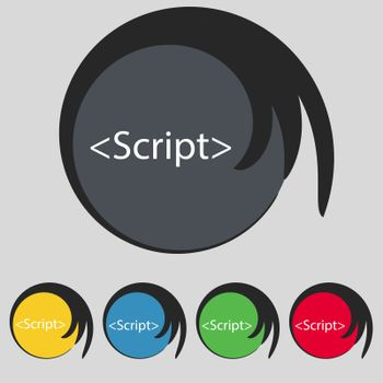 Script sign icon. Javascript code symbol. Set of colored buttons.