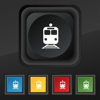 train icon symbol. Set of five colorful, stylish buttons on black texture for your design. illustration