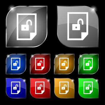 file unlocked icon sign. Set of coloured buttons.
