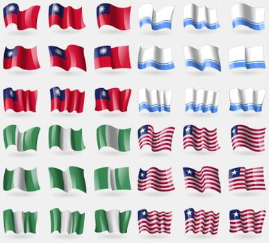 Taiwan, Altai Republic, Nigeria, Liberia. Set of 36 flags of the countries of the world.