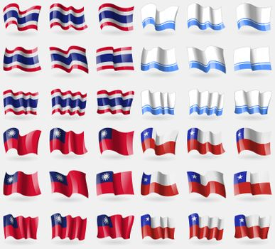 Thailand, Altai Republic, Taiwan, Chile. Set of 36 flags of the countries of the world.