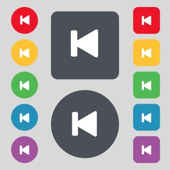 fast backward icon sign. A set of 12 colored buttons. Flat design.