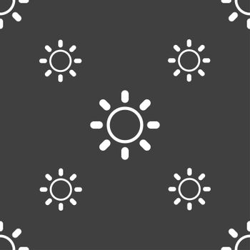 Brightness icon sign. Seamless pattern on a gray background.