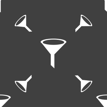 Funnel icon sign. Seamless pattern on a gray background.