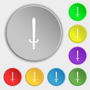 the sword icon sign. Symbol on five flat buttons.