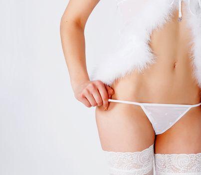 Girl in erotic white dress