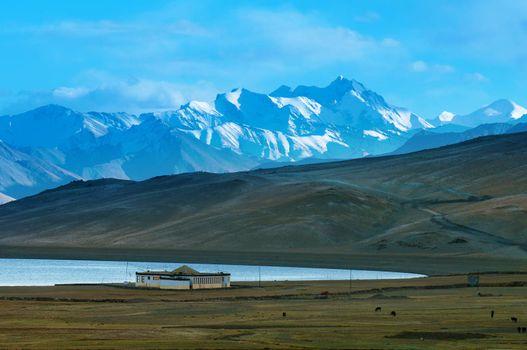 Landscape of Tso Moriri or Lake Moriri, Ladakh, Changthang Plateau, Jammu and Kashmir, northern India.