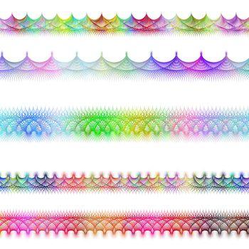 Color fractal page divider line design set