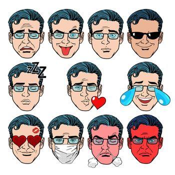 Set Emoji emotions men