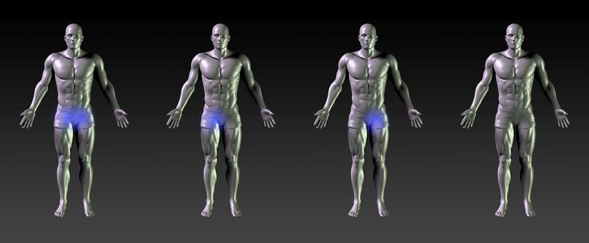 Groin Recovery or Rehabilitation with Blue Glow
