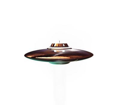 unidentified flying object flying isolated on white background