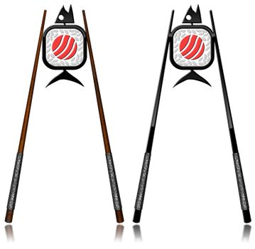 Two symbols of Sushi with wooden, silver and black chopsticks. Isolated on white background