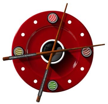 Clock composed by a red plate with wooden and silver chopsticks  in the place of the clock hands and four sushi rolls. Isolated on white background