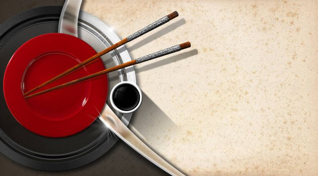 Spotted background with red plate, wooden and silver chopsticks and a bowl of sauce. Template for an Asian menu