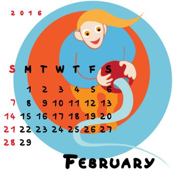 Graphic illustration of the calendar of February 2016 with original hand drawn text and colored clip art of Aquarius zodiac sign