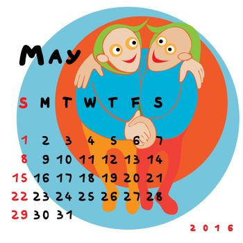 Graphic illustration of the calendar of May 2016 with original hand drawn text and colored clip art of Gemini zodiac sign