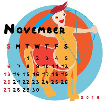 Graphic illustration of the calendar of November 2016 with original hand drawn text and colored clip art of Sagittarius zodiac sign