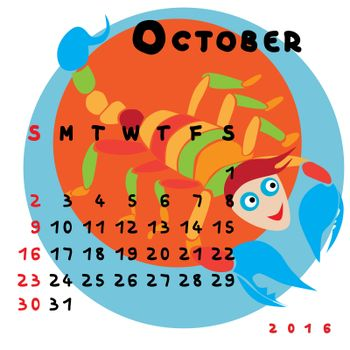 Graphic illustration of the calendar of October 2016 with original hand drawn text and colored clip art of Scorpio zodiac sign