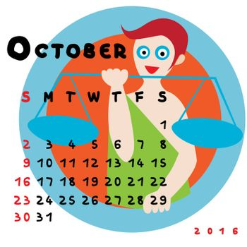 Graphic illustration of the calendar of October 2016 with original hand drawn text and colored clip art of Libra zodiac sign