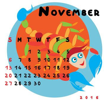 Graphic illustration of the calendar of November 2016 with original hand drawn text and colored clip art of Scorpio zodiac sign