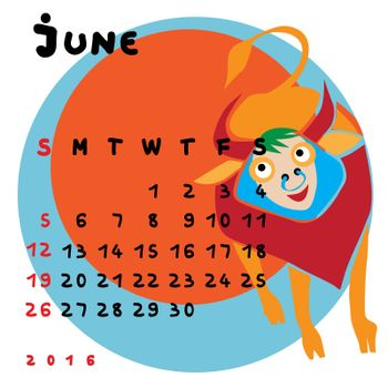 Graphic illustration of the calendar of June 2016 with original hand drawn text and colored clip art of Taurus zodiac sign