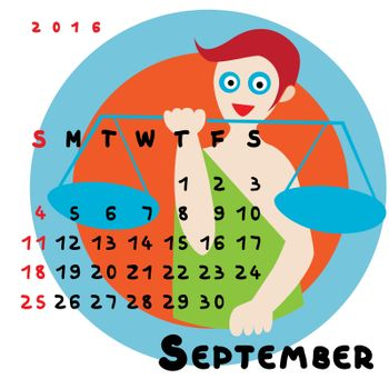 Graphic illustration of the calendar of September 2016 with original hand drawn text and colored clip art of Libra zodiac sign