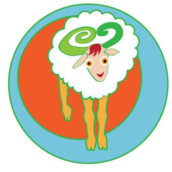Happy Aries sticker, clip-art hand drawn illustration of a cheerful cartoon character isolated on white