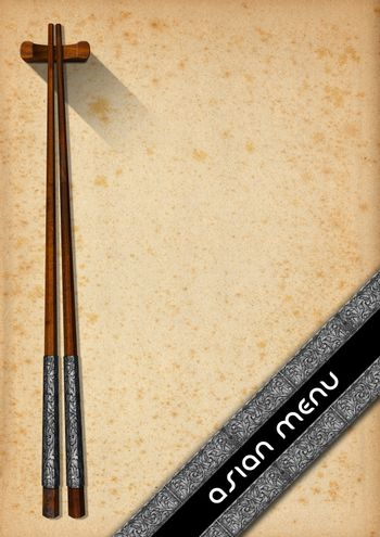 Template for an Asian menu with wooden and silver chopsticks on an yellowed old paper with diagonal silver bands