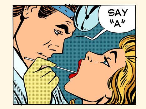 otolaryngologist examines the throat patient