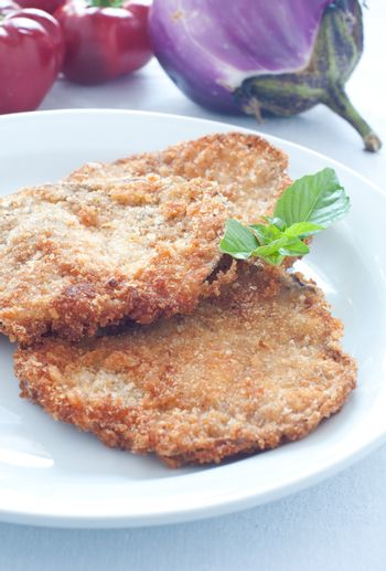 Eggplant slices breaded and fried