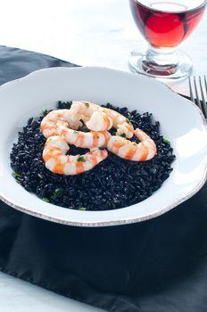 Black rice with prawns fresh