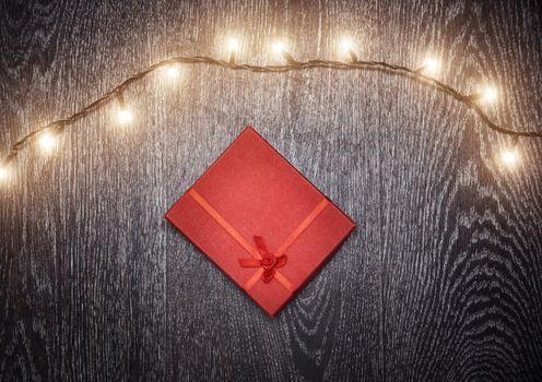 Christmas light and gift box