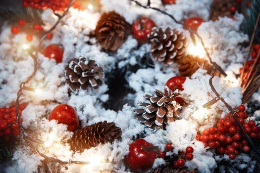 Christmas wreath and light