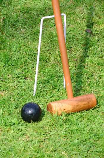 Croquet Mallet and black ball