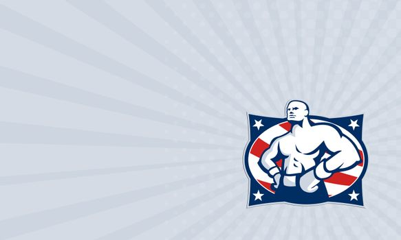 Business card Champion American Boxer Akimbo Retro