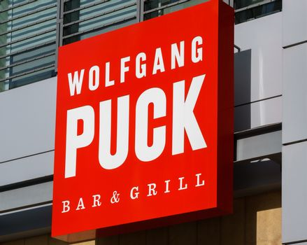 LOS ANGELES, CA/USA - December 6, 2015: Wolfgang Puck Bar and Grill exterior at L.A. Live. Wolfgang Puck is an Austrian celebrity chef.
