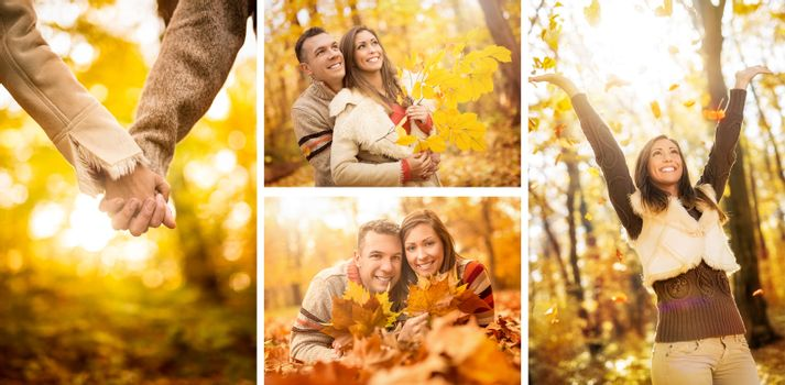 Collage of a beautiful young couple in sunny forest in autumn colors.