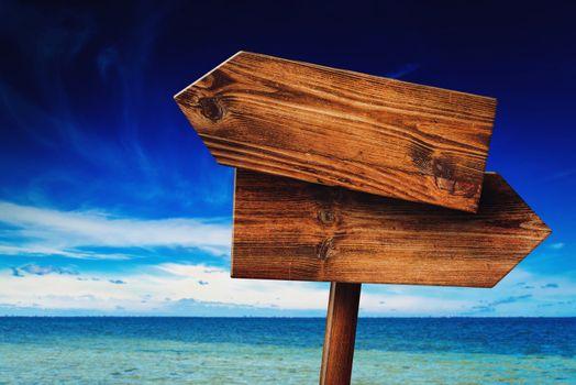 Direction Signpost on Coastal Seaside Beach
