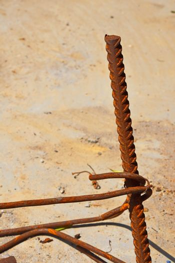 Rusty corroded stained metal wire fitting armature