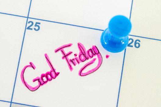 calendar displaying Good Friday.