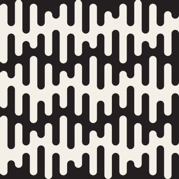 Vector Seamless Black and White Rounded Drips Wavy Lines Pattern